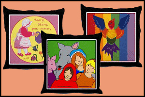 THROW PILLOWS WITH COLORFUL PICTURES