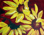 Sunflowers with Red Background