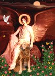 SEATED ANGEL<br>& Golden Retriever