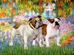 GARDEN AT GIVERNEY<br> 2 English Bulldogs