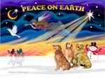 CHRISTMAS SUNRISE<br>& 3 Golden Retrievers