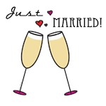 Just Married Champagne Toast T-shirts and Gifts