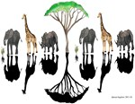 African animals and silhouettes