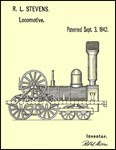 Train Locomotive 1842 Restored Patent Print
