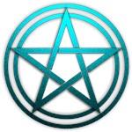 Teal Metal Pagan Pentacle
