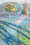 Autumn in a Park, An Oil Pastel Painting