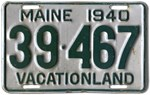Maine 1940 License Plate