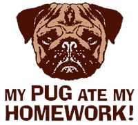 My Pug Ate My Homework t-shirts