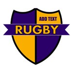 Rugby Shield Gold Purple Personalize