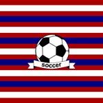 Soccer Ball Stripes Red White Blue