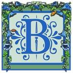 Bluebells on Green Vine Monogrammed Carryall Bag