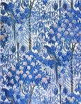 Blue Peach Tree Orchard Pattern