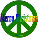 Merry Christmas Green Peace Sign