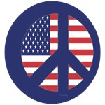 Peace Sign with Flag (Blue)