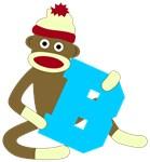 Sock Monkey Monogram Boy B
