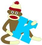 Sock Monkey Monogram Boy K