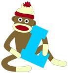 Sock Monkey Monogram Boy L