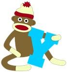 Sock Monkey Monogram Boy Y