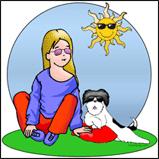 Girl and her shih tzu dog