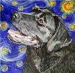 Starry Night Black Labrador Retriever