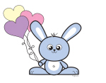 Bunny with Love Balloons