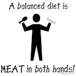 Meat in both hands balanced diet