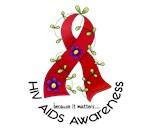 Flower Ribbon AIDS Shirts, Stickers, & Merchandise