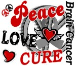 Peace Love Cure 2 Brain Cancer Shirts Gifts
