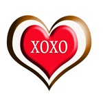 XOXO Heart Brown/Red