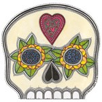 Heart and Flowers Half Skull