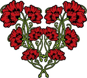 Red Art Nouveau Flower Motif