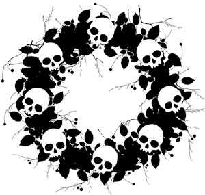 Gothic Black Skull Wreath