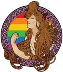 Art Nouveau Woman With Rainbow T-shirts