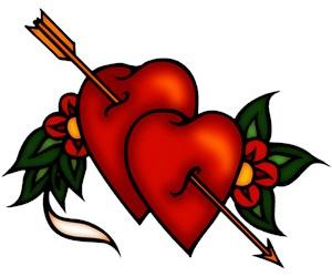 Retro Tattoo Arrow Hearts