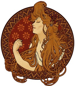 Art Nouveau Long Haired Woman