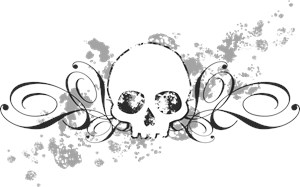 Skull With Splatters And Swirls
