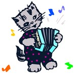 Vintage Accordion Kitten