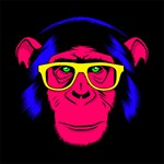 Neon Hipster Chimp Red