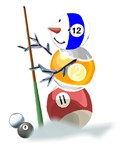 Billiards Cue Ball Snowman