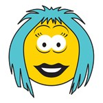 Blue Hair Emo Girl Smiley