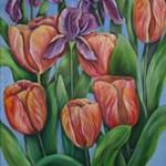 Purple Iris and my tulips