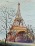 Eiffel Tower in purple mist