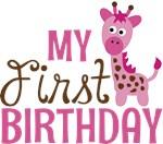 Girl Giraffe First Birthday