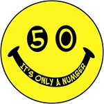 50th birthday smiley face. 50, it's only a number!