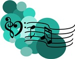 Teal Blue Music Notes and Spots