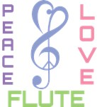 Peace Love Flute Music T-shirts