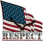 Patriotic Respect w/Eagle on large USA Flag