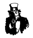Anonymous Guy Fawkes as Uncle Sam
