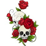 Skulls With Red Roses