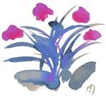 Atom Flowers #34 in purple and fuchsia